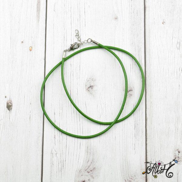Bőr nyaklánc alap - zöld 4