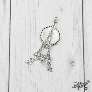 Eiffel torony medál alap, tibeti ezüst (20mm)