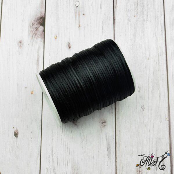 Szatén zsinór - fekete, 2mm 4