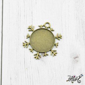 Antik bronz hópehely medál alap, 25mm