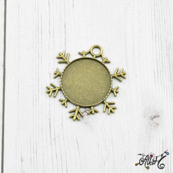 Antik bronz hópehely medál alap, 25mm 2