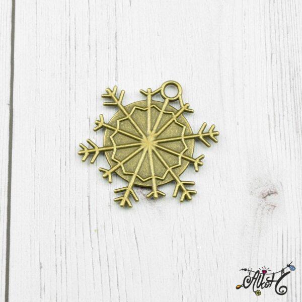 Antik bronz hópehely medál alap, 25mm 3
