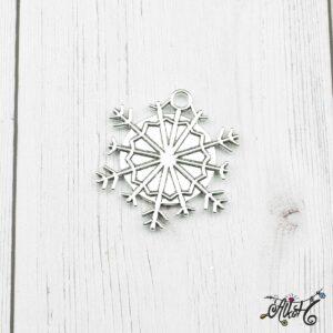 Tibeti ezüst hópehely medál alap, 25mm