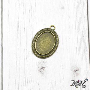 Antik bronz ovális medál alap