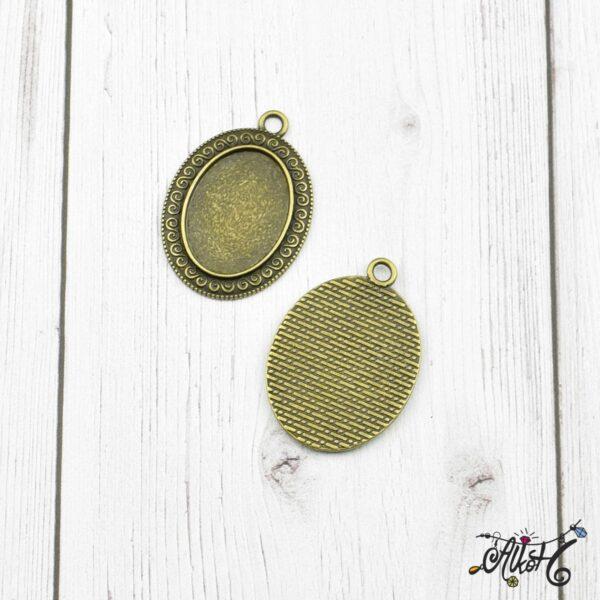 Antik bronz ovális medál alap 4
