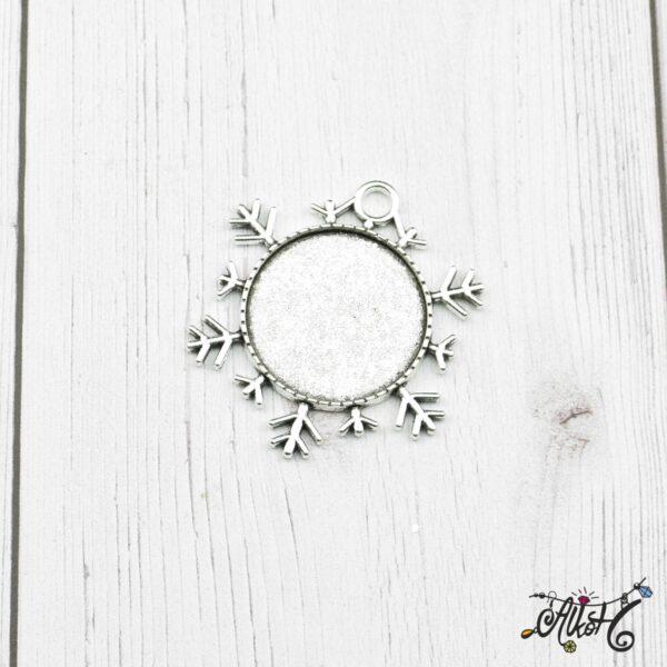 Tibeti ezüst hópehely medál alap, 25mm 3
