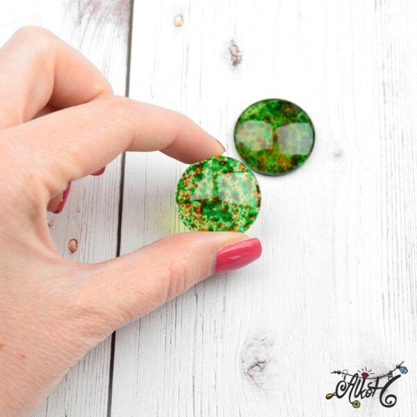 Színezett üveglencse, cabochon - zöld (25mm) 3