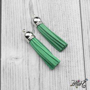Velúr hatású bojt (6cm) – smaragdzöld
