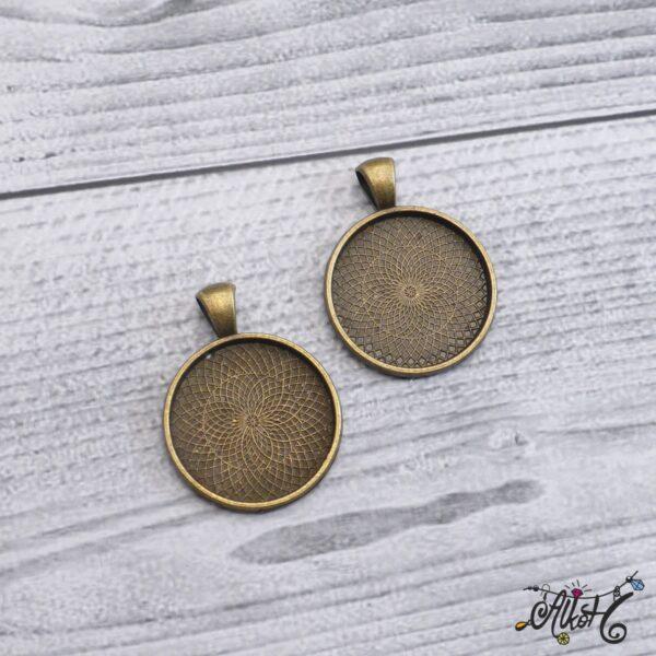 Antik bronz medál alap - 25 mm 5