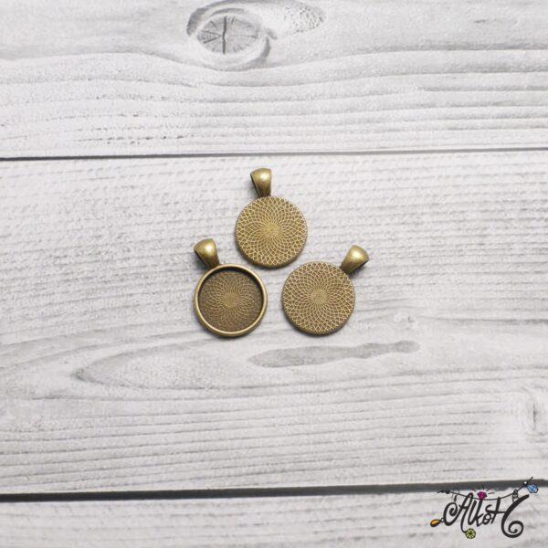 Antik bronz medál alap - 18 mm 5