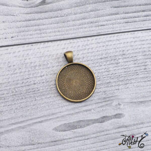 Antik bronz medál alap - 25 mm 4