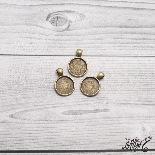 Antik bronz medál alap - 18 mm 3