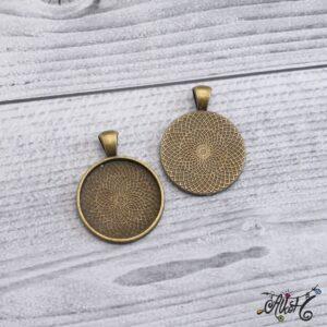 Antik bronz medál alap – 25 mm