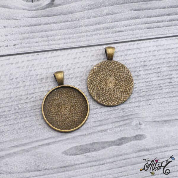 Antik bronz medál alap - 25 mm 3