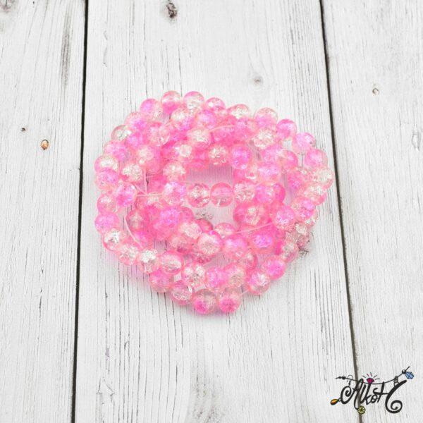 Robbantott gyöngy – átlátszó-világos rózsaszín, 8mm 2