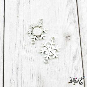 Tibeti ezüst hópihe összekötő medál alap, 12 mm