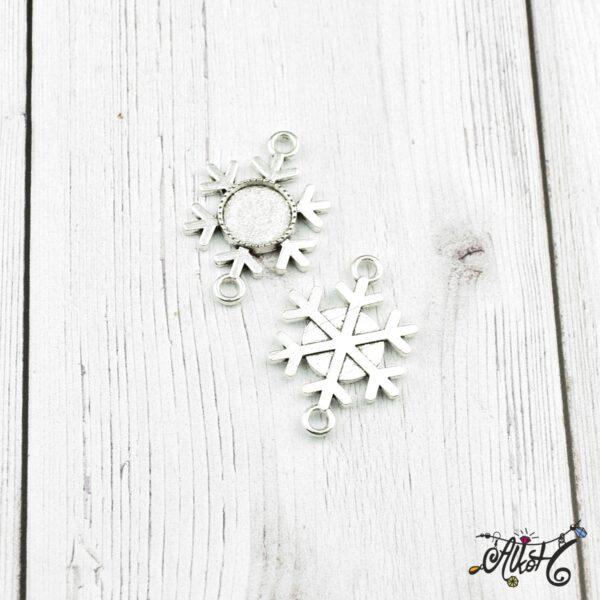 Tibeti ezüst hópihe összekötő medál alap, 12 mm 2