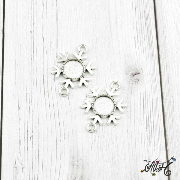 Tibeti ezüst hópihe összekötő medál alap, 12 mm 4