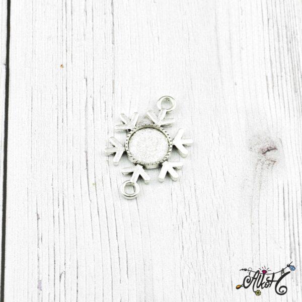 Tibeti ezüst hópihe összekötő medál alap, 12 mm 5