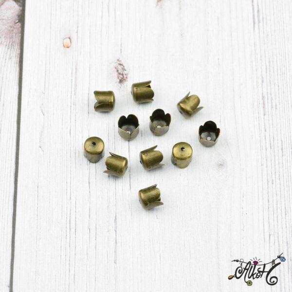 Tulipán kupak, antik bronz (8x8mm) 2