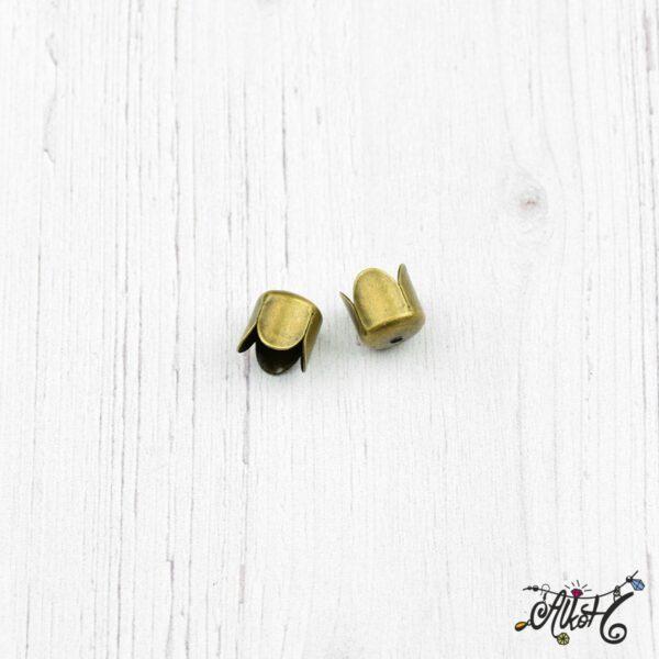 Tulipán kupak, antik bronz (8x8mm) 3