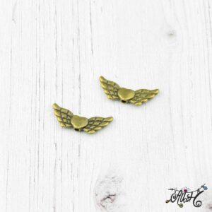 Antik bronz angyalszárny, szívvel