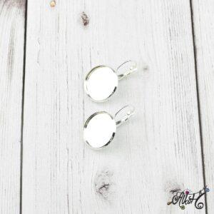 Francia kapcsos fülbevaló alap, ezüst – 1 pár (belső: 18mm)