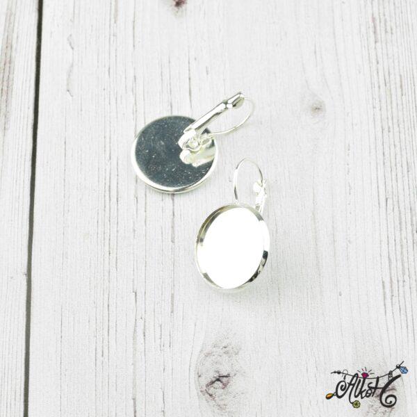 Francia kapcsos fülbevaló alap, ezüst – 1 pár (belső: 18mm) 2