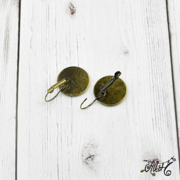 Francia kapcsos fülbevaló alap, antik bronz - 1 pár (belső: 18mm) 2