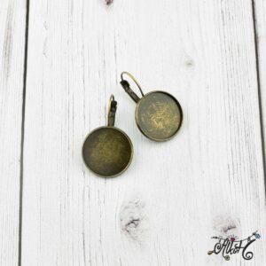 Francia kapcsos fülbevaló alap, antik bronz – 1 pár (belső: 18mm)