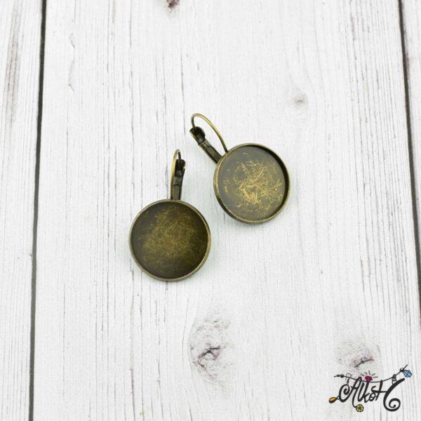Francia kapcsos fülbevaló alap, antik bronz - 1 pár (belső: 18mm) 1