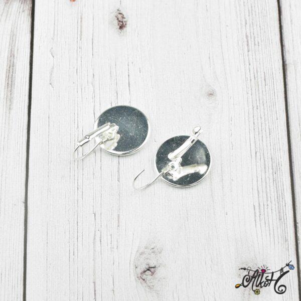 Francia kapcsos fülbevaló alap, ezüst – 1 pár (belső: 18mm) 3