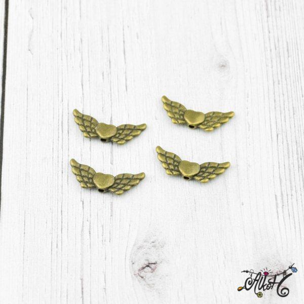 Antik bronz angyalszárny, szívvel 2