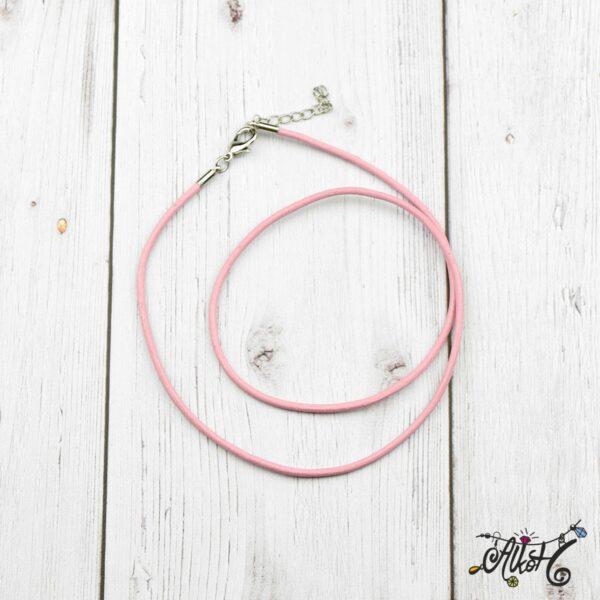 Bőr nyaklánc alap - rózsaszín 1