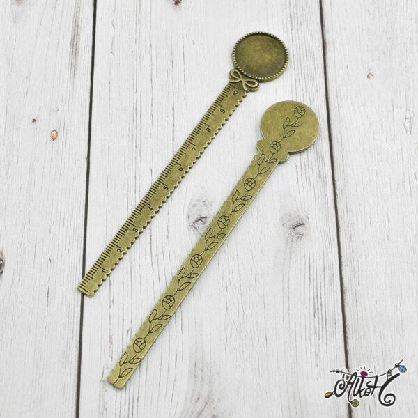 Antik bronz vonalzós könyvjelző alap (20mm) 1