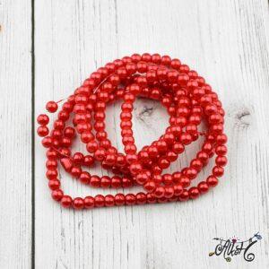 Viaszgyöngy – élénk piros, 4mm