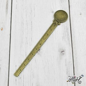 Antik bronz vonalzós könyvjelző alap (20mm)
