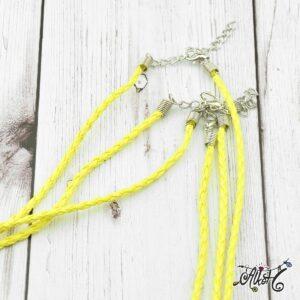 Műbőr nyaklánc alap, csavart – sárga