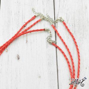 Műbőr nyaklánc alap, csavart – piros