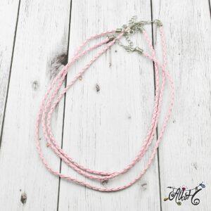 Műbőr nyaklánc alap, csavart – rózsaszín