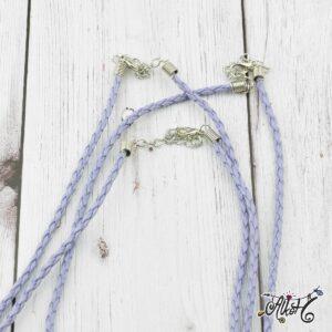 Műbőr nyaklánc alap, csavart – világos lila