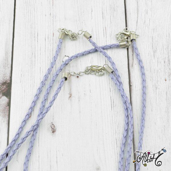 Műbőr nyaklánc alap, csavart - világos lila 1