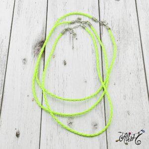 Műbőr nyaklánc alap, csavart – neon zöld