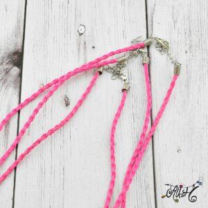 Műbőr nyaklánc alap, csavart – pink