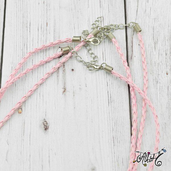Műbőr nyaklánc alap, csavart - rózsaszín 1