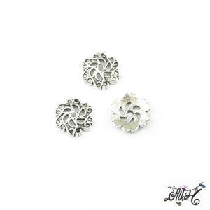 Tibeti ezüst nagyméretű gyöngykupak, virág