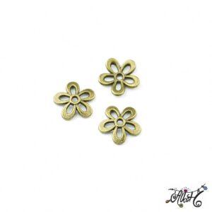Antik bronz gyöngykupak, virág