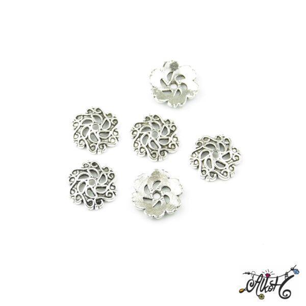 Tibeti ezüst nagyméretű gyöngykupak, virág 1