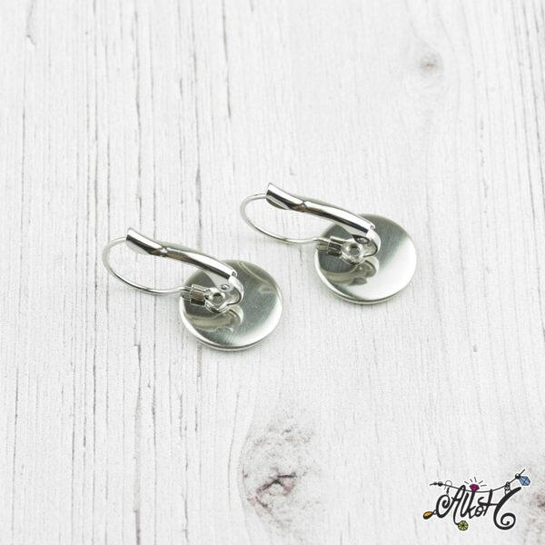 Francia kapcsos fülbevaló alap, orvosi fém, belső: 12 mm (1 pár) 1