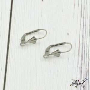 Orvosi fém kagylós, francia kapcsos fülbevaló alap (1 pár)